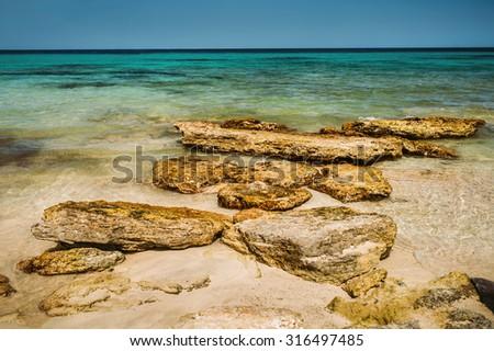 Turquoise sea bay, Majorca island, Spain - stock photo