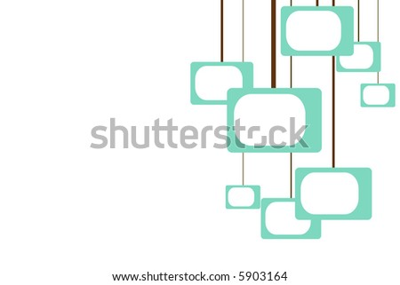turquoise shapes reminiscent of televisions hanging from brown lines in a retro pattern - stock photo