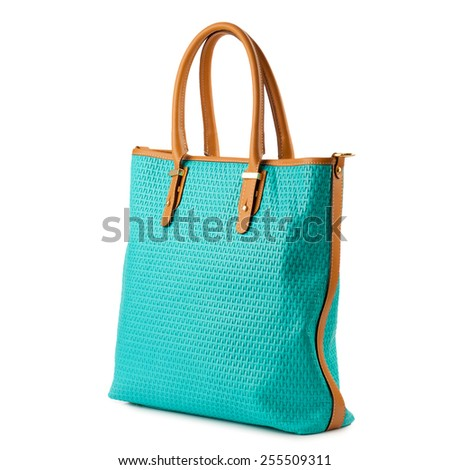Turquoise shopper bag isolated on white background. - stock photo