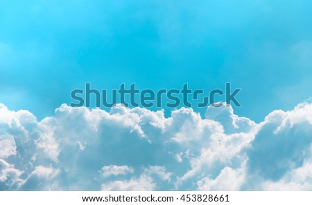 Turquoise sky and clouds abstract background with copy space panoramic view - stock photo
