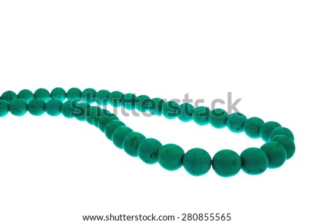 turquoise stone beads, luster, shape of the ball