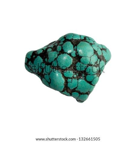Turquoise stone on a white background - stock photo