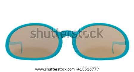 Turquoise sun glasses isolated on white background. Include clipping path. 3D render - stock photo