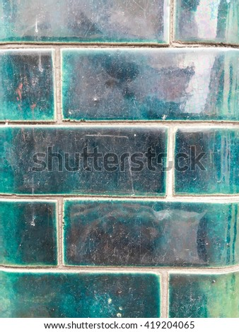 Turquoise wall tiles as a background - stock photo