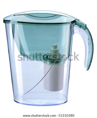 Turquoise water filtration pitcher with filter / domestic water purifier - closeup isolated on white background   - stock photo