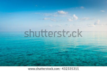 Turquoise water of the Indian Ocean. Corals on the sea floor. Maldives.