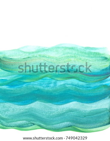 "Turquoise watercolor background ""Sea waves"""