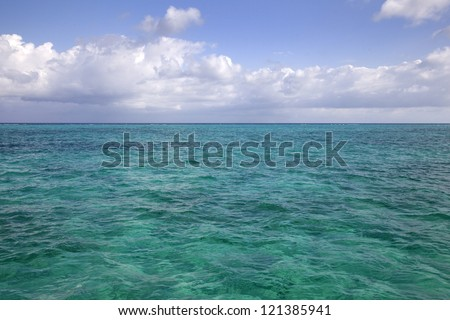 Turquoise waters at Stingray City, Cayman Islands - stock photo