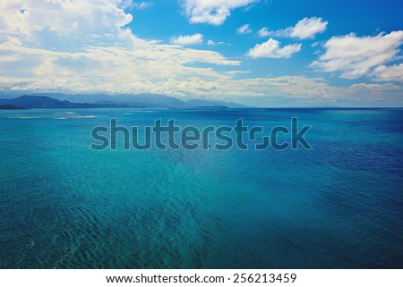 turquoise waters of the caribbean sea - stock photo
