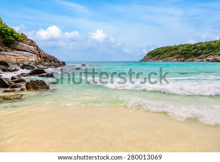 Turquoise waves of the Andaman Sea. Koh Racha. Thailand.