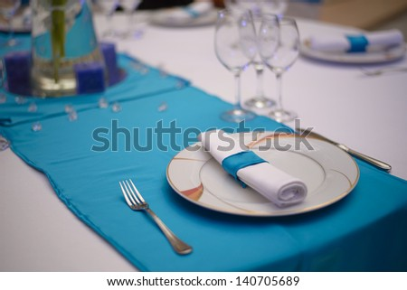 Turquoise wedding table decoration - stock photo