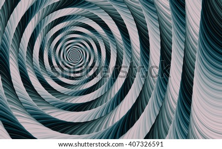 Turquoise-white spiral fractal abstract background - stock photo