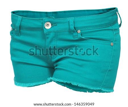 turquoise women's jeans Shorts  isolated on white background  - stock photo