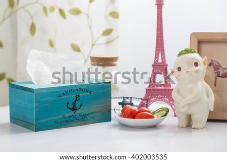 Turquoise wood tissue boxes  - stock photo