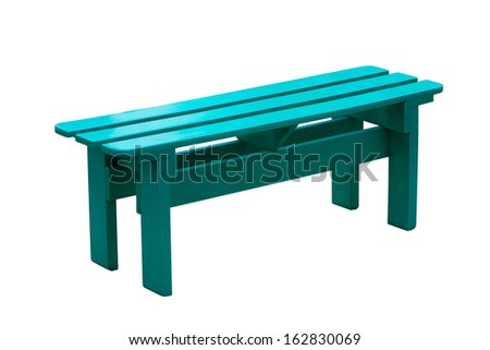 Turquoise wooden bench isolated on white background. - stock photo