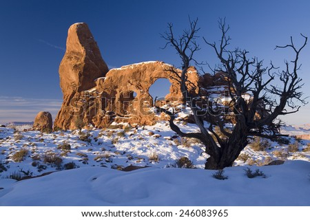 Turret Arch at Arches National Park - stock photo