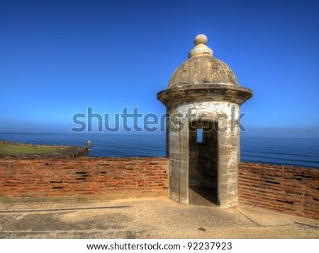 Turret at Castillo San Cristobal in Old San Juan, Puerto Rico. - stock photo