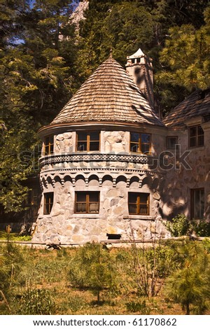 Turret from Vikingsholm, a historic castle-type mansion from Emerald Bay State Park on Lake Tahoe in California - stock photo