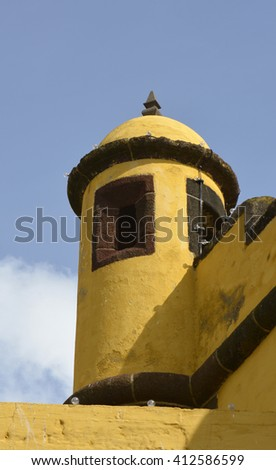 Turret on the Fortress of Saint Tiago (Forte de Sao Tiago) on the seafront at Funchal in Madeira, Portugal - stock photo
