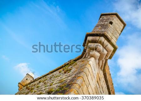 Turrets of the Cheese Castle in Porto. - stock photo