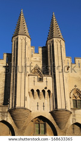 Turrets of the Papal Palace in  Avignon, France.   - stock photo