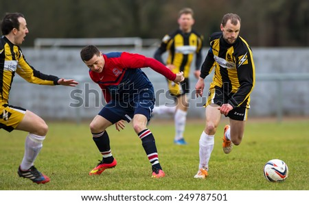 TURRIFF, ABERDEENSHIRE, SCOTLAND - 31 JANUARY: This is a scene within the Highland League Football match of Turriff United FC versus Huntly FC at Turriff Football Club, Scotland on 31 January 2015