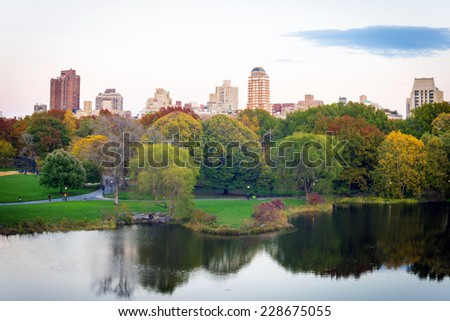 Turtle Pond from Belvedere Castle in Central Park in Manhattan, New York City on a clear autumn day - stock photo