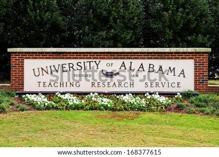 TUSCALOOSA, AL - NOVEMBER 5: An entrance sign at the University of Alabama on November 5, 2013. The University of Alabama is a public research university located in Tuscaloosa, Alabama. - stock photo