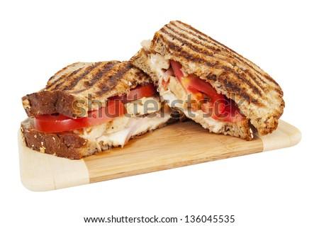 Tuscan chicken panini - grilled sandwich - stock photo