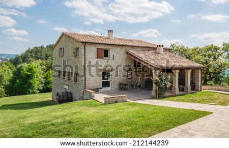 Tuscan farmhouse in Italy - stock photo