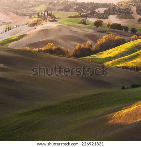 Tuscan house with a picturesque background - stock photo