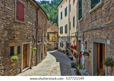 Tuscan, Italy, Europe, 23 JUNE, 2014; typical Italian street in a small provincial town of Tuscan, Italy, Europe