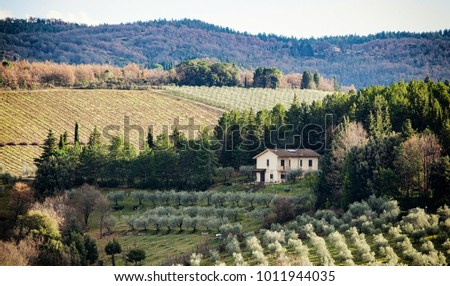Tuscan landscape and country road with cypress, trees and ancient buildings. Tuscany region in Italy.