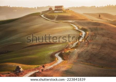 Tuscan landscape painted autumn light, Italy - stock photo
