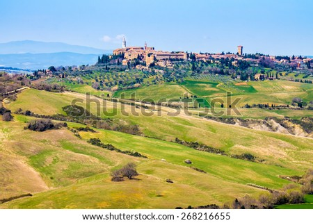 tuscan landscape, view of Pienza town in the Val D'Orcia - stock photo