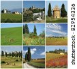 tuscan scenery collage - stock photo
