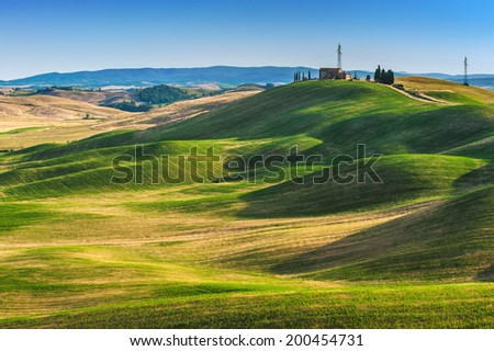 Tuscan summer on the fields in the beautiful view - stock photo