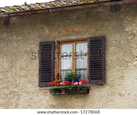 Tuscan window box - stock photo