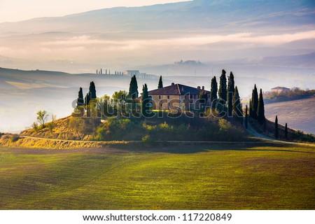 Tuscany at early morning, Italy - stock photo
