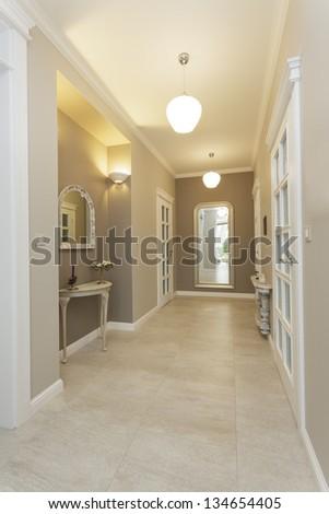 Tuscany - corridor of classic bright interior - stock photo