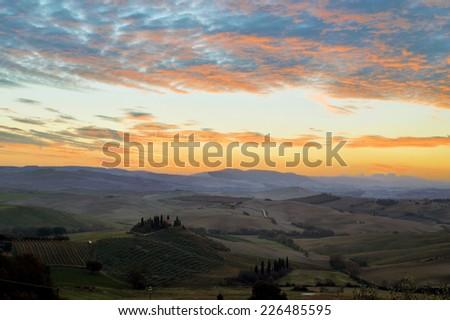 Tuscany Farmhouse Belvedere at dawn, San Quirico d'Orcia, Italy  - stock photo