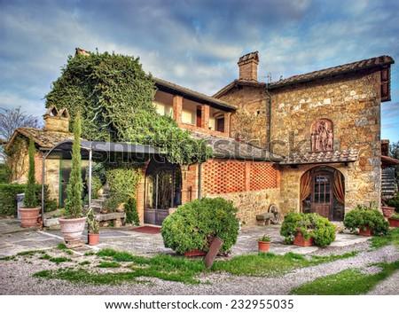 Tuscany Farmhouse, San Quirico d'Orcia, Italy - stock photo