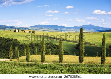 Tuscany, italian rural landscape, cypress trees Vitaleta chapel on background, little church in Val d Orcia, Italy - stock photo