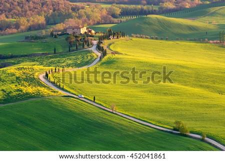 TUSCANY, ITALY - APRIL 10, 2016: Country in Orcia valley near Pienza, Tuscany, Italy - stock photo