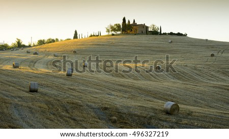 Tuscany, Italy - August 09, 2016: Beautiful landscape in Tuscany, Italy