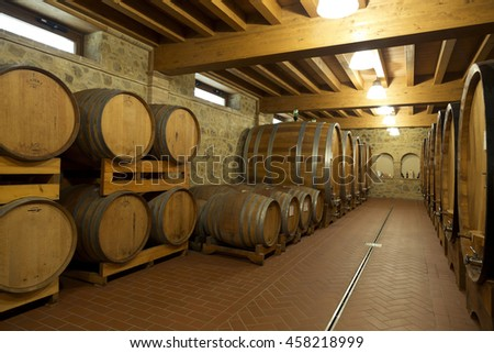 TUSCANY, ITALY - MAY 13, 2014: An old wine cellar in Montepulciano in Tuscany