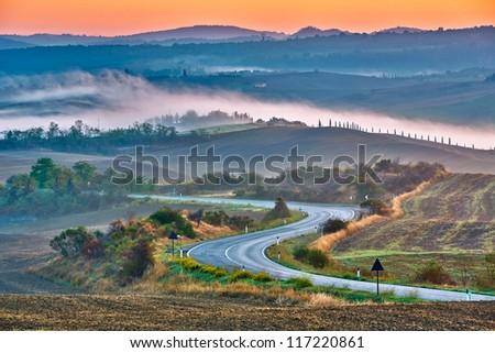 Tuscany landscape at sunrise, Italy - stock photo
