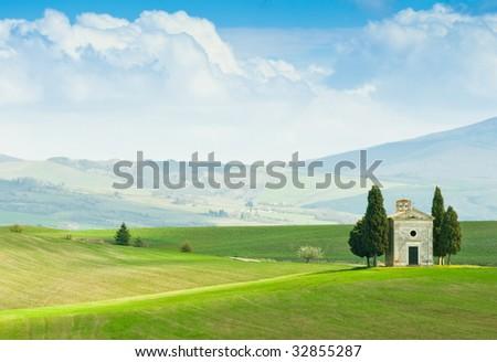 Tuscany landscape in spring - stock photo