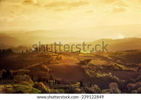 Tuscany - Landscape panorama, Toscana - Italy - stock photo