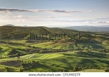 Tuscany landscape view from montepulciano Italy - stock photo